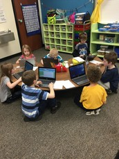 Mrs. Allen's 1st Grade Class Researching Penguins
