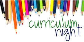 picture of colored pencils with curriculum night written in green and blue
