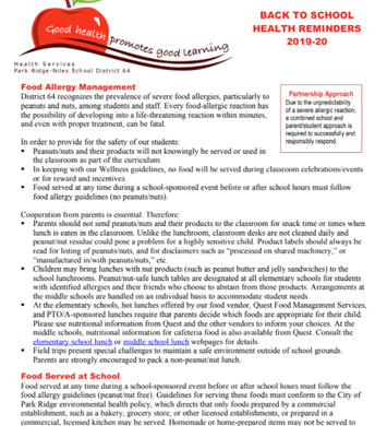 Food Allergy Management and other information