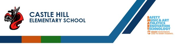 A graphic banner that shows Castle Hill Elementary School's name and the SMART logo