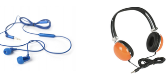 Picture of blue earbuds and orange and black headphones.