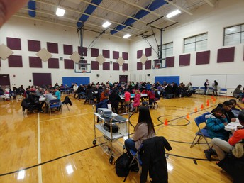 Parents and students in the gym during BINGO