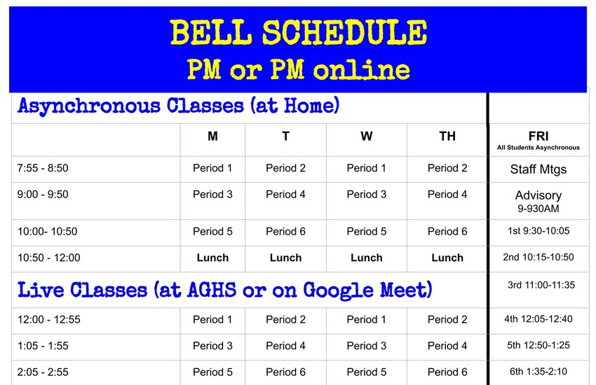 AGHS Bell Schedules