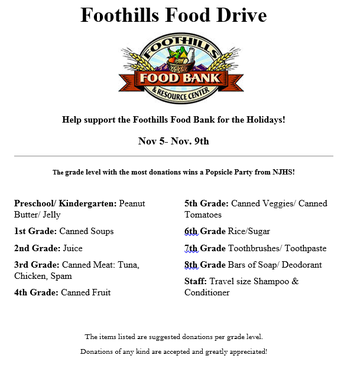 NJHS Foothills Food Drive