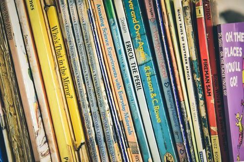 Library books on a shelf