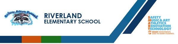 A graphic banner that shows Riverland Elementary school's name and logo with the SMART logo
