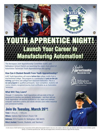 Youth Apprentice Night! - March 26, 5:30-7 pm @ Options HS