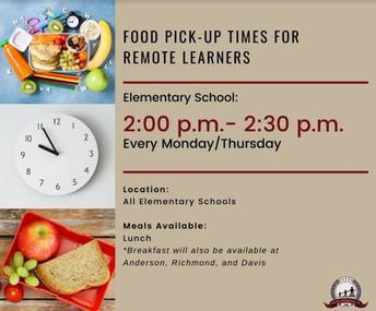 Recogida de alimentos para los estudiantes de aprendizaje a distancia