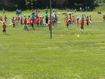 Lots going on during the afternoon-noodle tag and an obstacle course