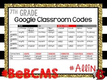 7th grade google classroom codes