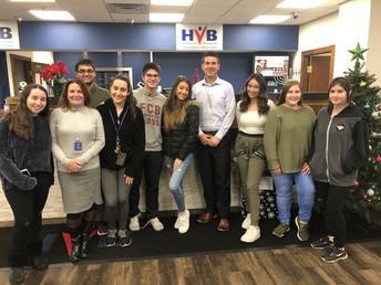 FBLA Officers and the Club's Sponsor, Mrs. Siciliano, met with Huntingdon Valley Bank.