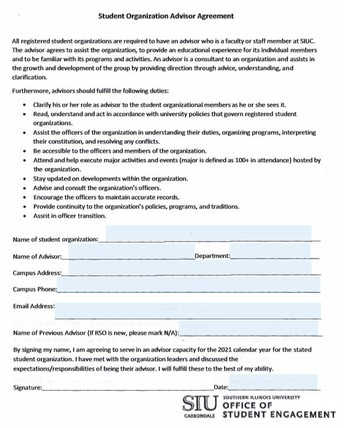 On-Campus Advisor Agreement Form: Past Due