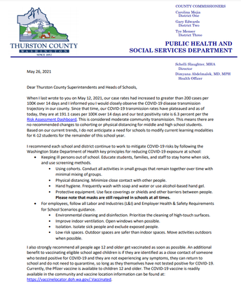 TCPHSS Letter to Schools