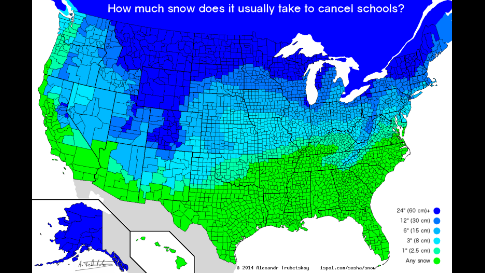 United States map from Fatherly.com showing the amount of snowfall it typically takes to cancel school