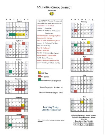 Reminder of the 2020-21 school year calendar