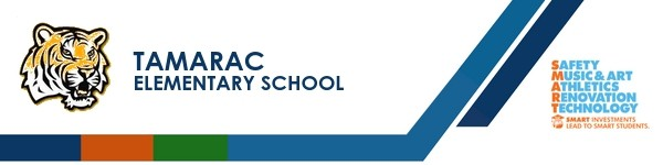 A graphic banner that shows Tamarac Elementary school's name and logo with the SMART logo
