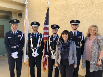 The Valencia High School Color Guard, Dr. Fine and Mrs. Howe, Director of Student Services