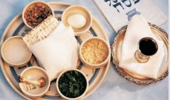 photo of traditional symbolic foods served at Passover Seder