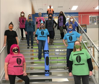 Reading Teachers dressed as crayons