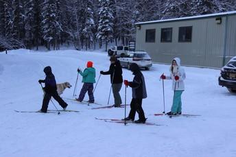 Cooper Landing School Cross Country Skiing at Recess