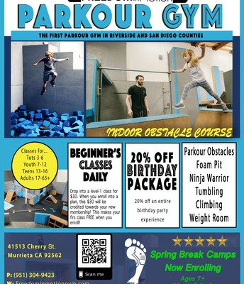 Sign Up for Spring Break Camp at Freedom in Motion Parkour Gym!