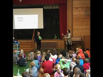 Ms. Whalen & Ms. Tantardino demonstrating 4-square & modeling positive behavior