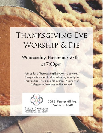 November 27th--Thanksgiving One Service at 7pm