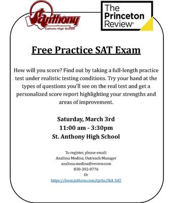 March 3, 2018 FREE SAT PRINCETON REVIEW