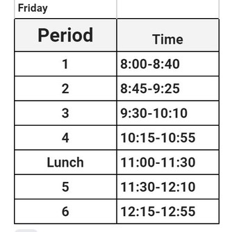 Friday schedule for August