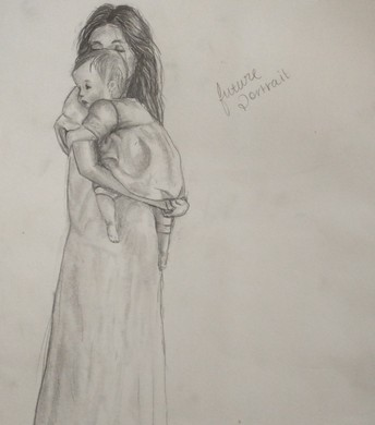 Pencil drawing of mother and baby