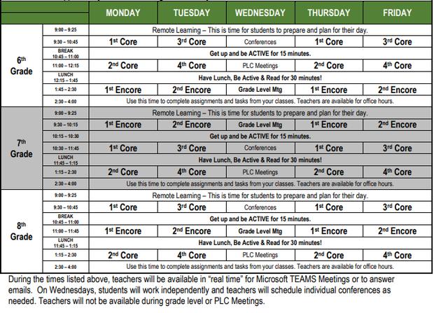 Weekly schedule begins September 8, 2020