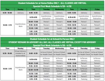 Week 1 Hybrid Schedule!