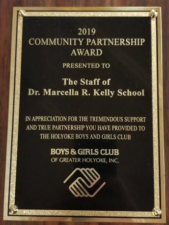 Kelly School's partnership award plaque