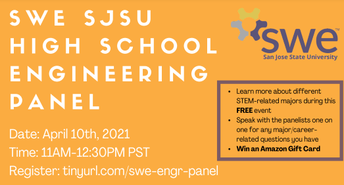 April 10th 11am-12:30pm Student Panel with  SW Engineering students @  SJSU for ALL current high school students