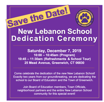 New Lebanon School Save the Date for Official Dedication Ceremony