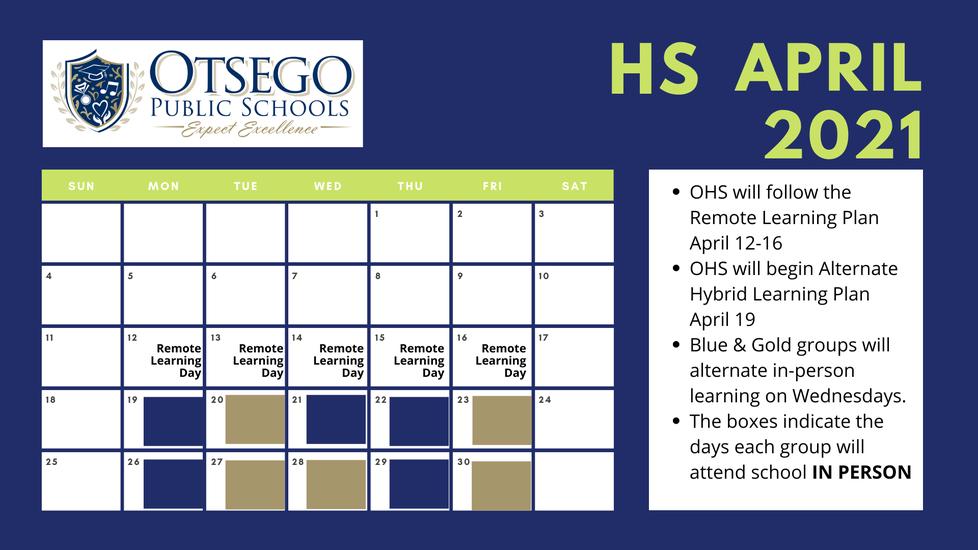 HS april schedule