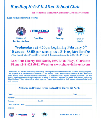 BOWLING BEGINS WEDNESDAY FEBRUARY 6TH