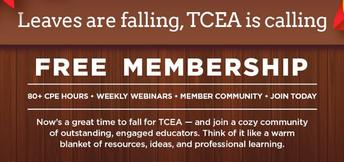 FREE TCEA Membership until October 30 (Friday)