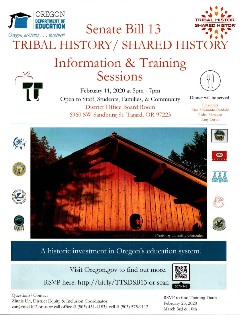 Senate Bill 13 Tribal History/Shared History Information & Training Sessions February 11, 2020 at 5PM-7PM