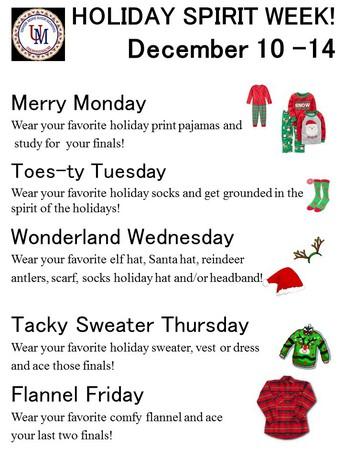 Holiday Spirit Week is here