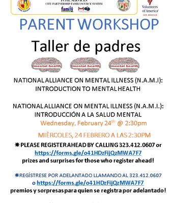 Mental Health Parent Workshop!