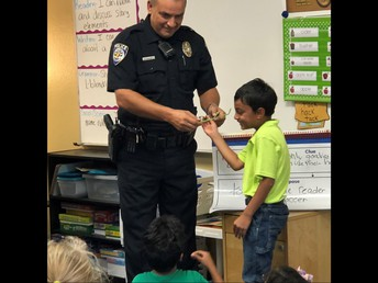 Sgt. Brad Merritt from the Frisco Police Department met with 1st grade students to talk about stranger danger and other important information for staying safe.