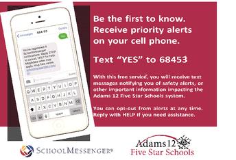 Receive important school-related alerts via text messaging / Reciba avisos importantes relacionados con la escuela por mensajes de texto
