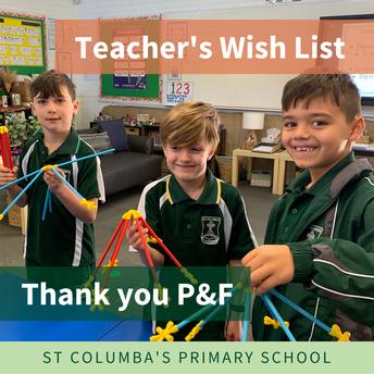 P&F Teacher's Wish List for 2020