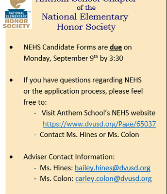 NEHS is coming to Anthem School!