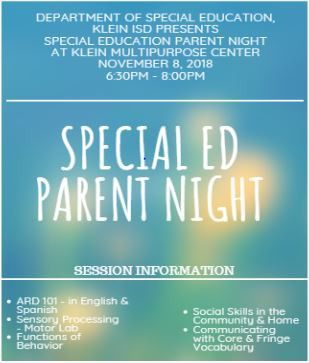 Special Education Parent Night November 8th
