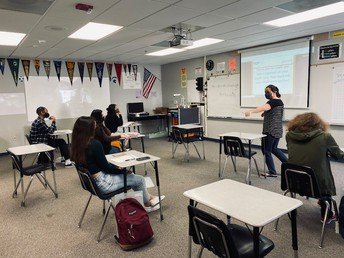 Students learning real-world knowledge about credit cards and credit scores in Mrs. Eyton's Financial Algebra class.