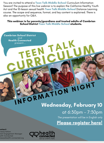 Teen Talk Information Session for 7th Grade Families