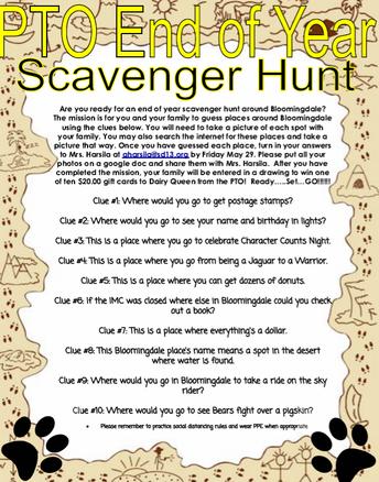 End Of Year Scavenger Hunt