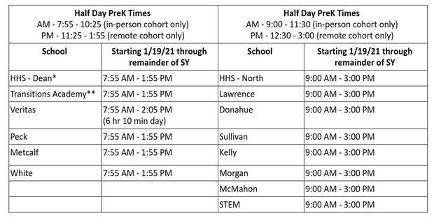 School hours chart